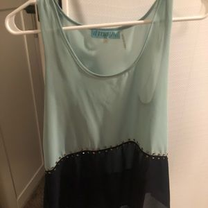 Turquoise and dark blue tank top